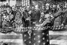 Depicted in this undated illustration from an old print, the inauguration of President James A. Garfield in 1881 by Supreme Court Justice Noah H. Swayne. (AP Photo)