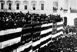 This general view shows the inauguration of James A. Garfield, the nation's 20th president, on the East Portico of the Capitol building in Washington, D.C., March 4, 1881.  (AP Photo)