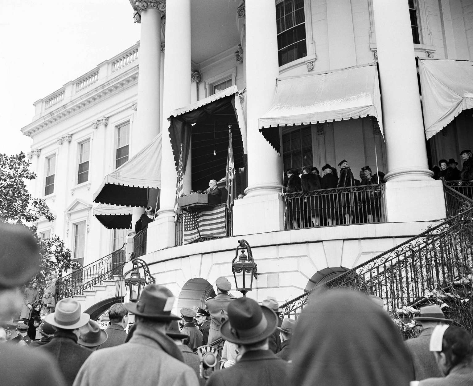 President Franklin D. Roosevelt delivers his fourth term inaugural address from the South Portico of the White House in Washington, D.C., during inauguration ceremonies, Jan. 20, 1945. (AP Photo)