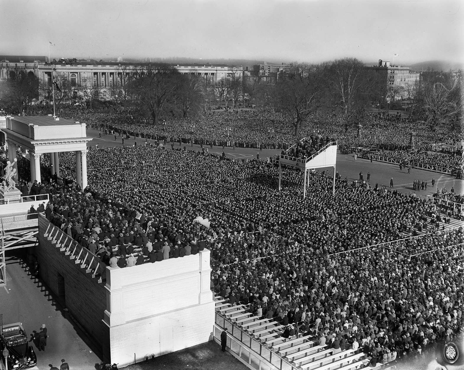 A crowd estimated at 75,000 people jams Capitol Plaza in Washington, Jan. 20, 1941, for the third term inauguration of President Franklin Delano Roosevelt, as the president was making his inaugural address. (AP Photo)