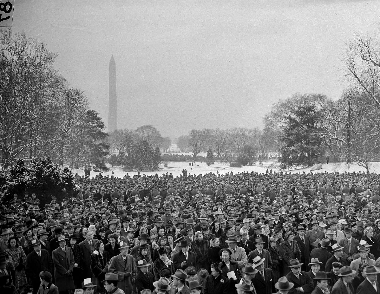 This is a view of the crowds gathered in Washington D.C., for the fourth inauguration of President Franklin D. Roosevelt, Jan. 20, 1945. (AP Photo)