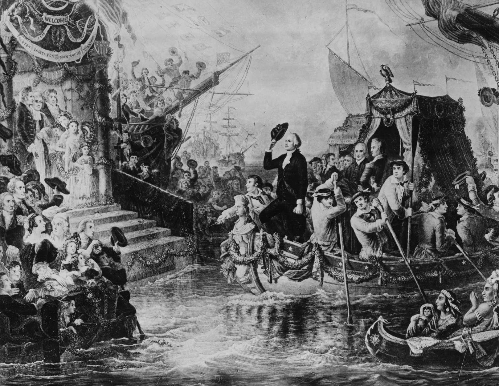 This drawing depicts George Washington arriving in New York by barge on his inauguration day on April 30, 1789.  The nation's first president took his oath of ofiice on the balcony of Federal Hall on Wall Street.  (AP Photo)