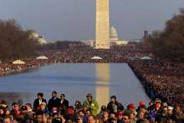 Thousands gather on the Mall Sunday to listen to a concert in front of the Lincoln Memorial and to see President-elect Clinton at the beginning of a five-day inaugural celebration culminating with Clinton's inauguration Wednesday January 17, 1993. The day, which began for Clinton in the Thomas Jefferson's home of Monticello, concluded with fireworks over the Potomac.  (AP Photo/Stephan Savoia)
