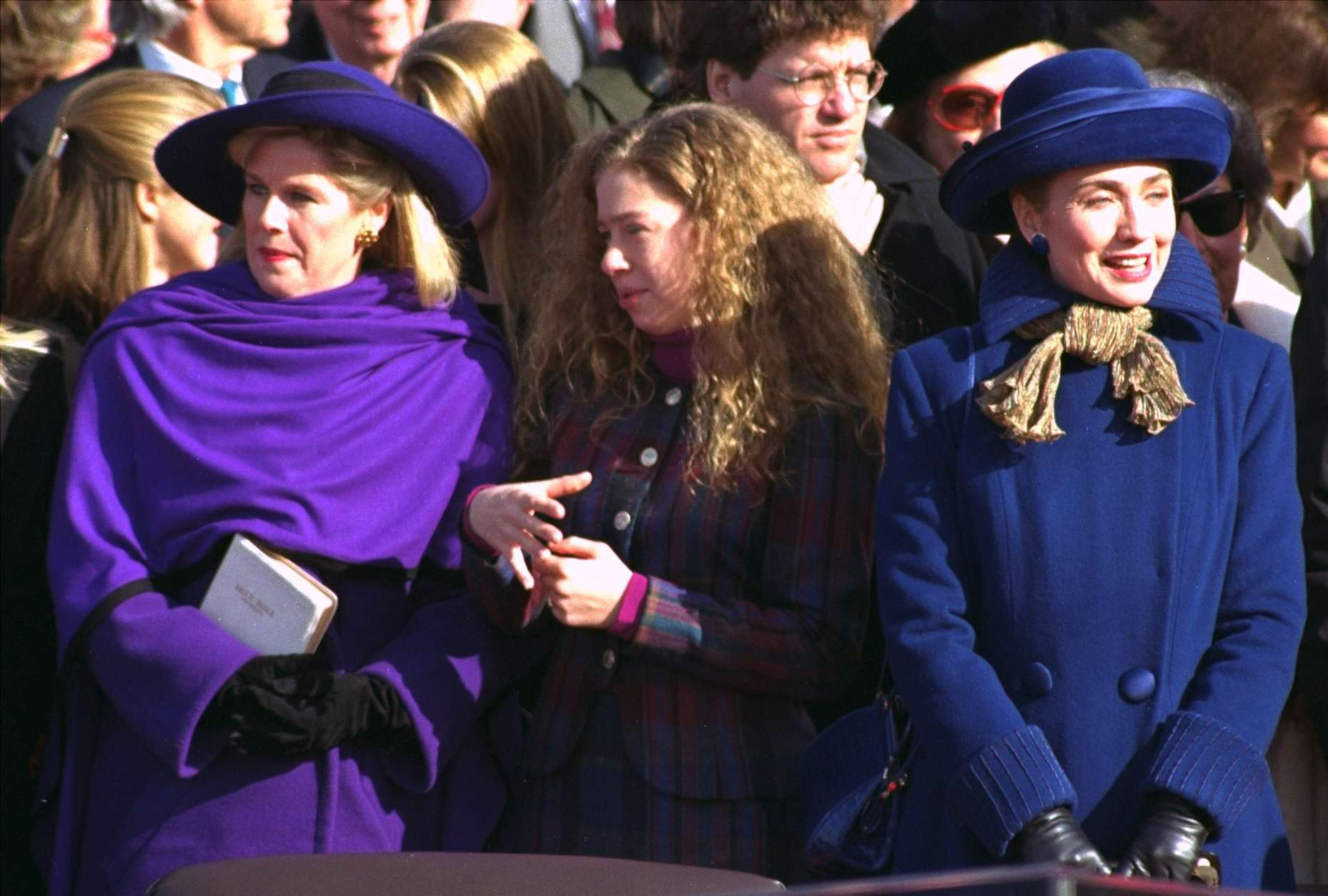 Tipper Gore, wife of Vice President Gore, left, Chelsea Clinton, daughter of President Clinton, center, and Hillary Clinton, wife of the president, look on during the inaugural ceremony on Capitol Hill Wednesday.  (AP Photo/Ed Reinke)