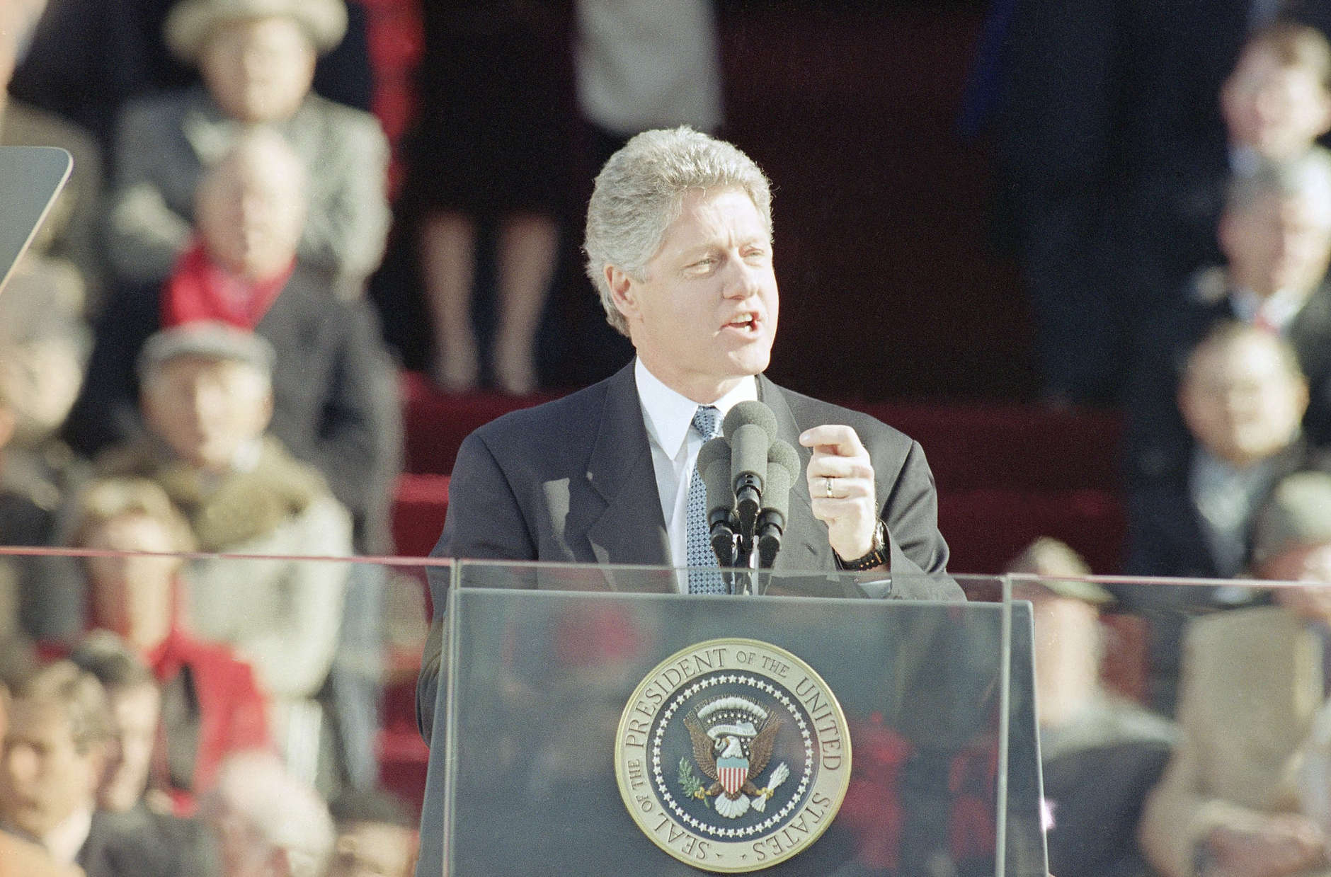 Pres. Bill Clinton delivers his inaugural address from the west steps of the Capitol during inauguration ceremonies, Wednesday, Jan. 20, 1993, Washington, D.C. Clinton is the 42nd President of the United States. (AP Photo/Ron Edmonds)