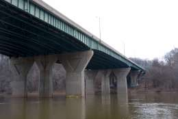 The American Legion Bridge opened to traffic in 1962. The bridge has spanned for Potomac River for over a half century. (WTOP/Dave Dildine)