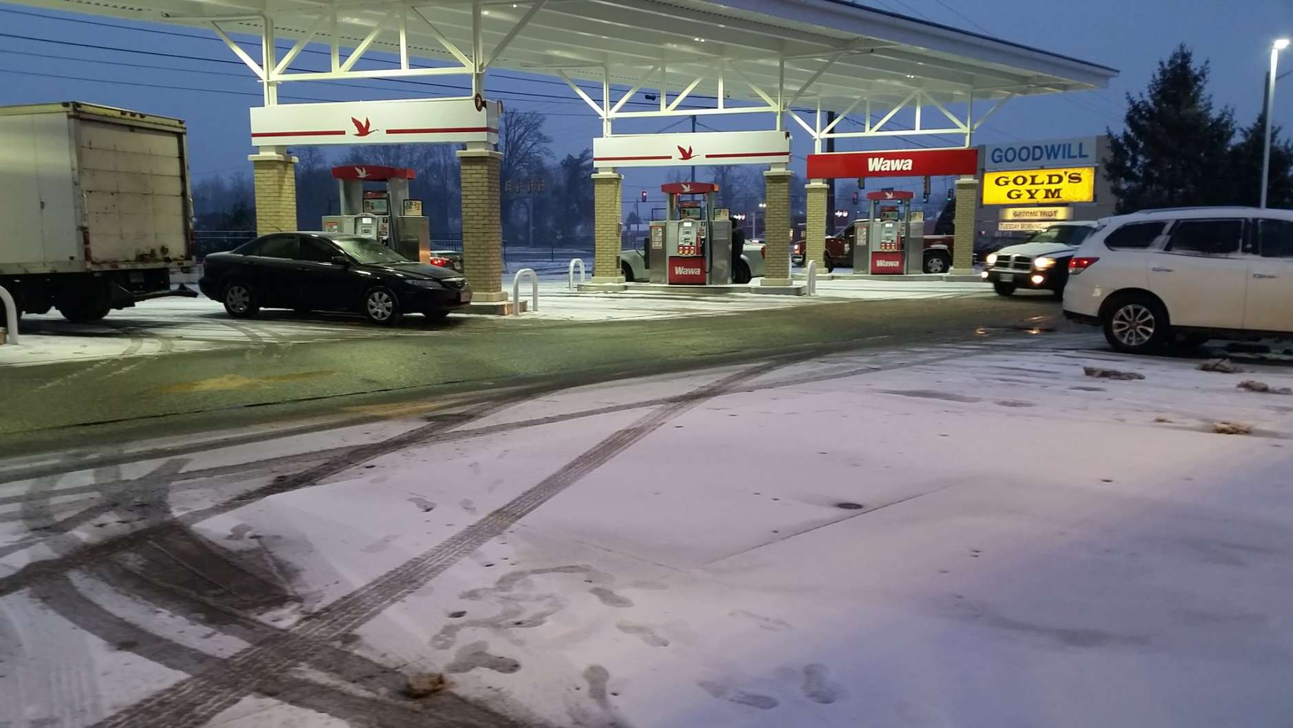 A worker at a Wawa in Fredericksburg, Va., told WTOP's Kathy Stewart Saturday morning that they were worried about driving home due to winter weather conditions. The Virginia Department of Transportation urged people to stay off the roads Saturday. (WTOP/Kathy Stewart)