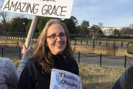 Jody Brady of Round Hill, Virginia, on Elipse saying goodbye to the Obama family. She has cancer and says she is grateful for the Affordable Care Act. (WTOP/Kristi King)