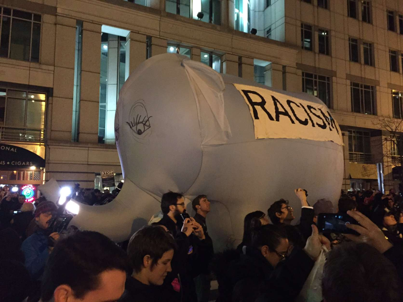 A very large elephant arrived on F Street outside Thursday's Deploraball. (WTOP/Michelle Basch)