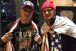 Trump supporters were also on hand outside the National Press Club Thursday night. (WTOP/Michelle Basch)