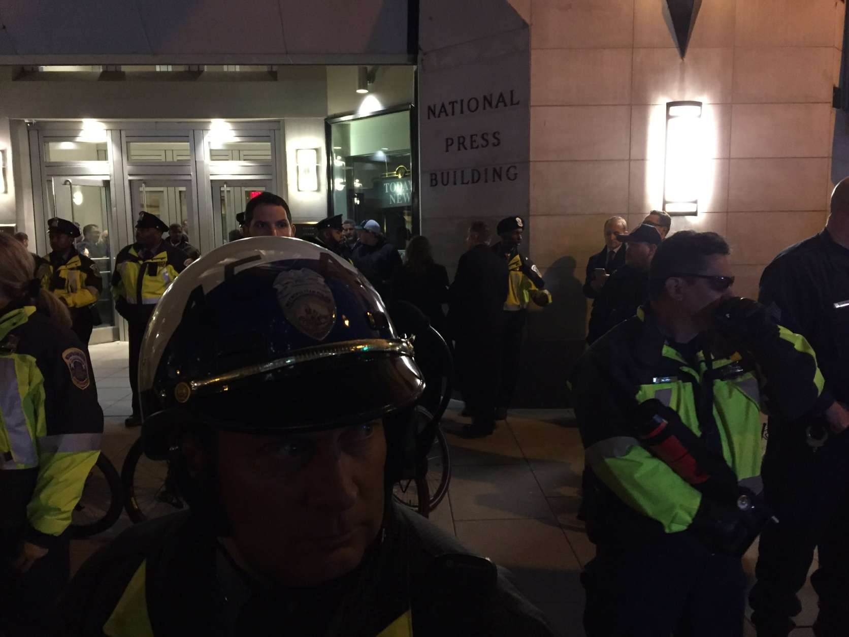 "A crowd taunted people arriving for the DeploraBall. Chants included,  ""Nazi scum off our streets."" (WTOP/Michelle Basch)"