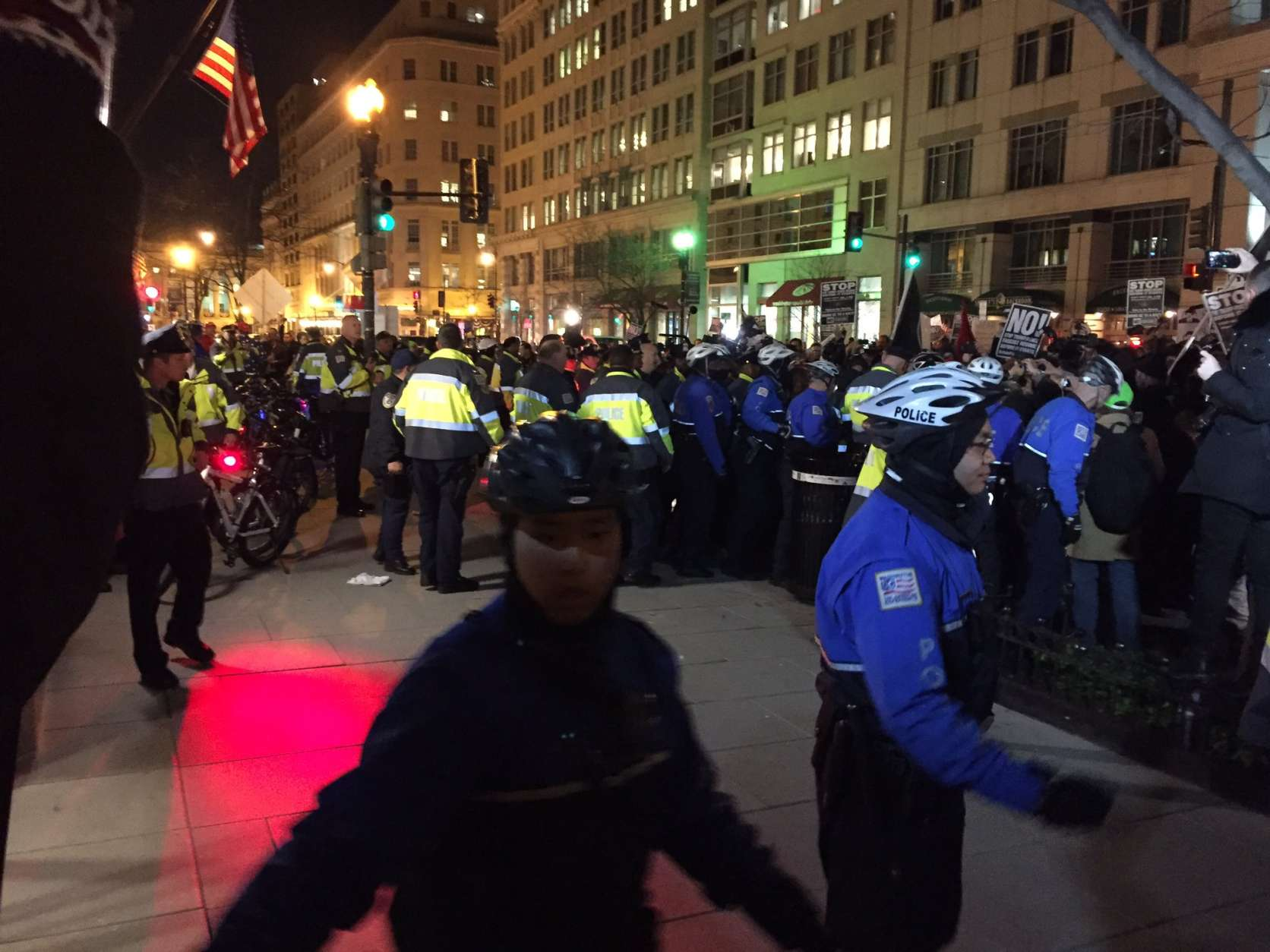Dozens of arrests were made outside the DeploraBall, at the National Press Club, the night before President Donald Trump's inauguration. (File, WTOP/Michelle Basch)