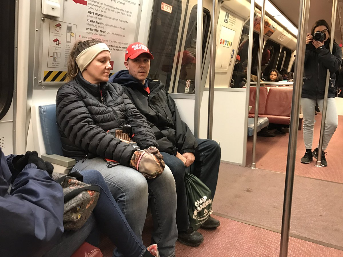 """A family from Erie, Pennsylvania, heads to the swearing-in ceremony. They are looking forward to President Trump """"making America great again -- I hope that's what he does,"""" they told WTOP's Neal Augenstein. (WTOP/Neal Augenstein)"""