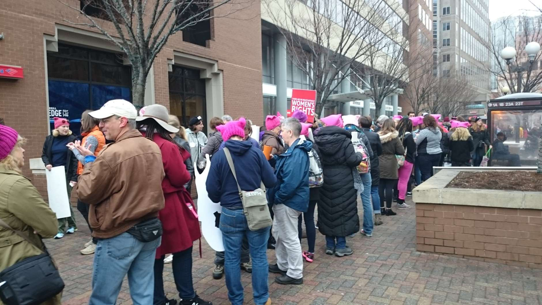 The line to get into the Ballston Metro station to make it to the Women's March on Washington in D.C. Saturday morning, Jan. 21, 2017. (WTOP/Dennis Foley)