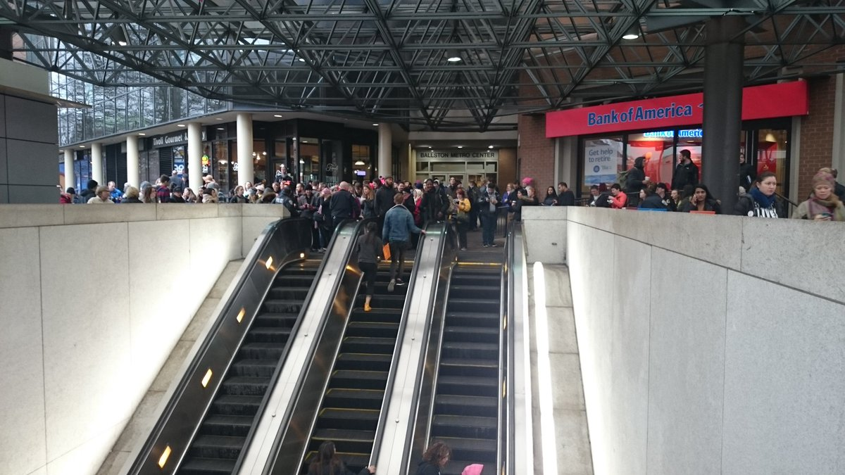 Traffic was being held up at the Ballston Metro station because there were too many people on the platform just after 9 a.m., Saturday, Jan. 21, 2017, the day of the Women's March on Washington. (WTOP/Dennis Foley)