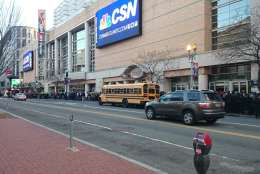 Sidewalks were crammed and buses are packed utside the Verizon Center prior to the March for Life in Washington, D.C. on Friday, Jan. 27, 2017. (WTOP/Dennis Foley)