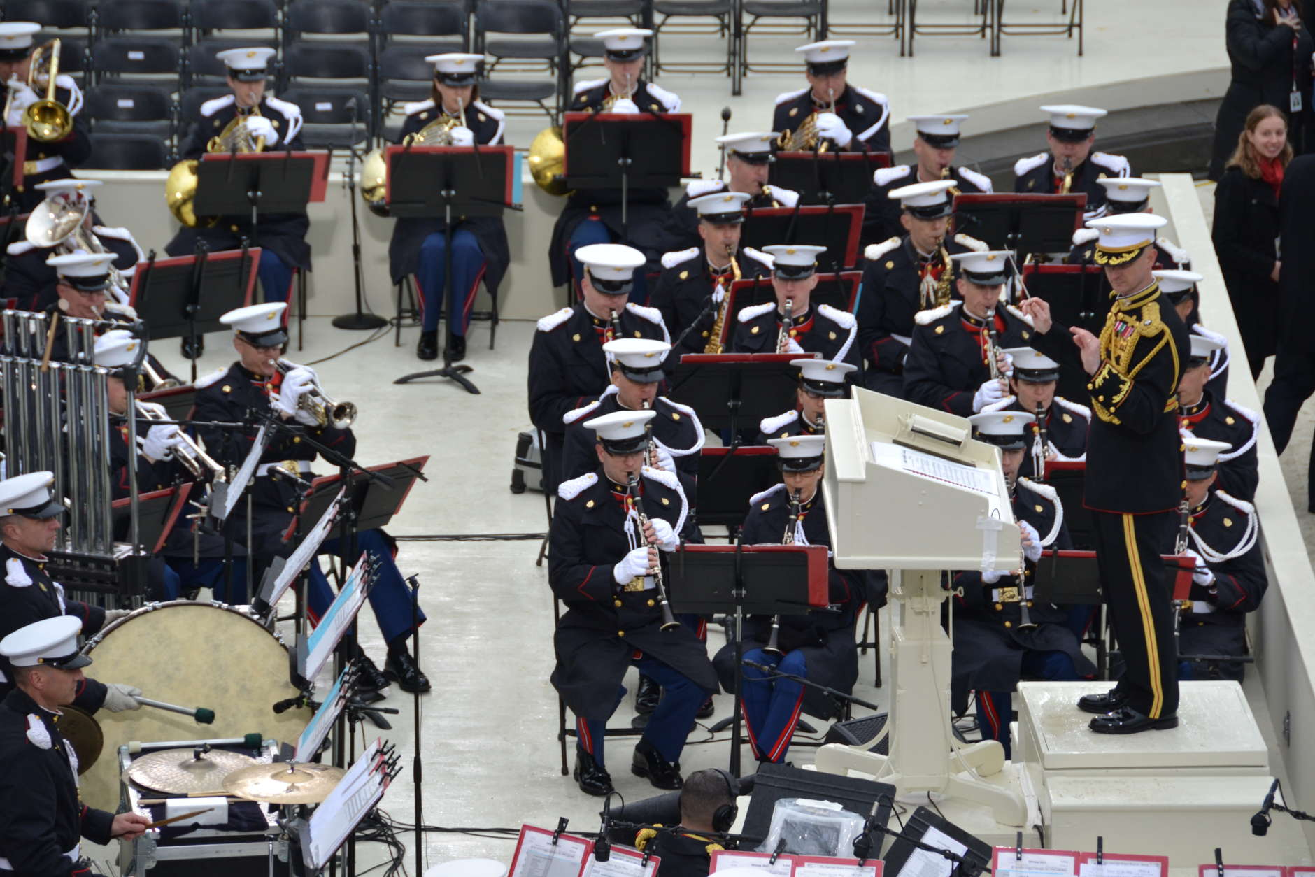 """""""The President's Own"""" U.S. Marine Band has started to perform in advance of Donald Trump's swearing in, WTOP's Brennan Haselton says. (WTOP/Brennan Haselton)"""