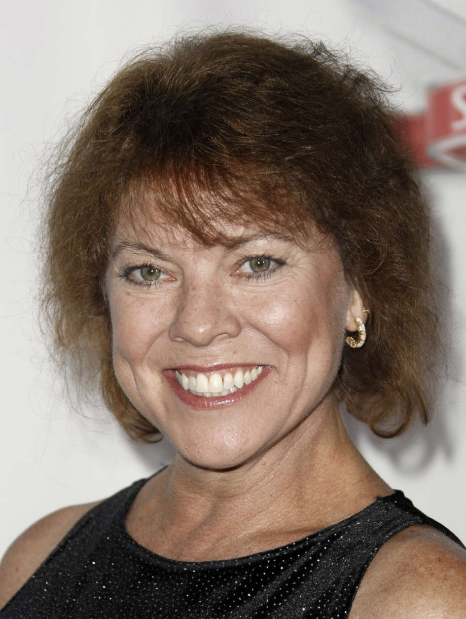 """Multiple media outlets report that """"Happy Days"""" actress Erin Moran has died at 56.  FILE: Erin Moran arrives at the Fox Reality Channel Really Awards in Los Angeles on Wednesday, Sept. 24, 2008.  (AP Photo/Matt Sayles)"""