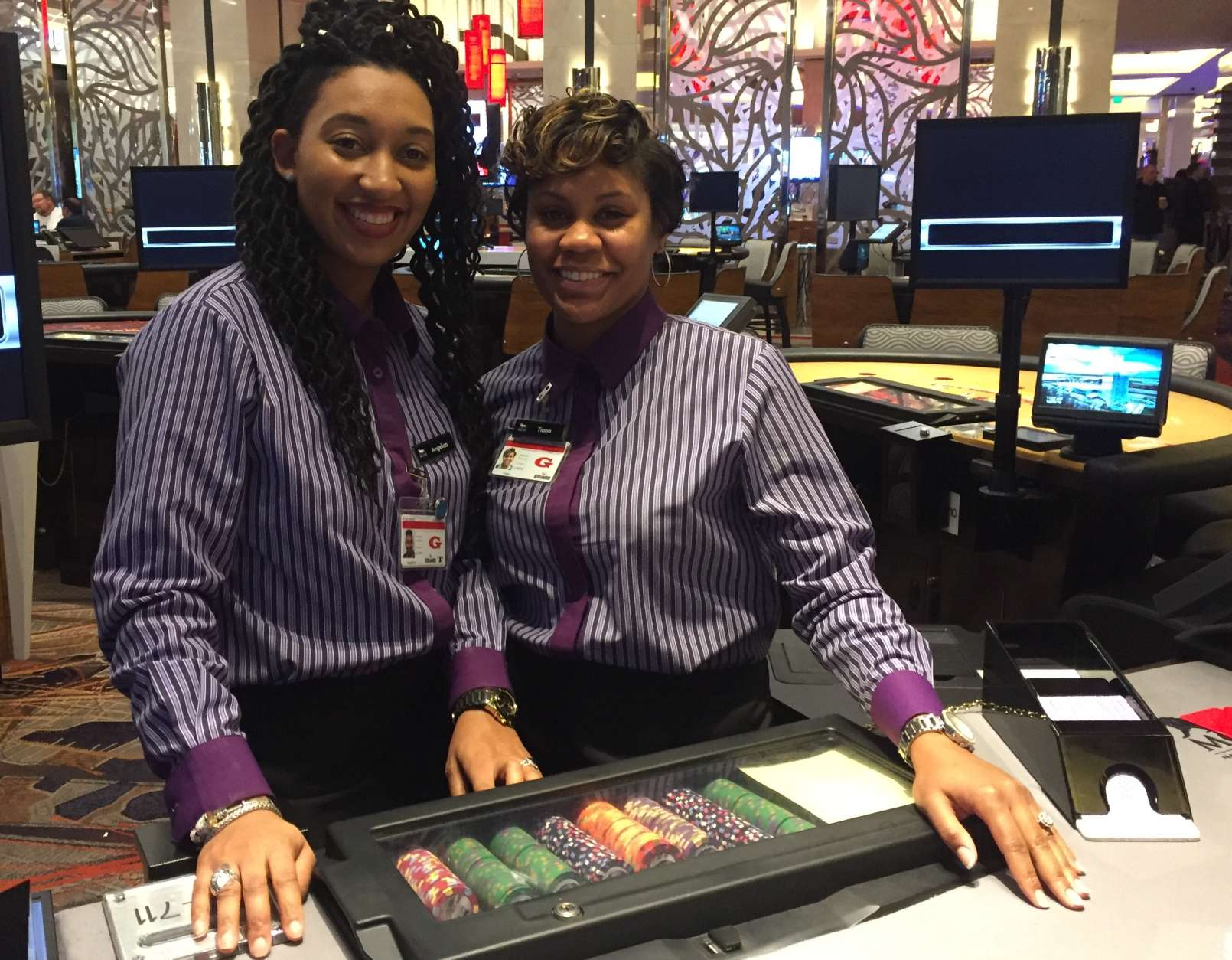 Angelica Allen, right, stands with Tiana Johnson, left, inside the MGM National Harbor casino. (WTOP/Michelle Murillo)