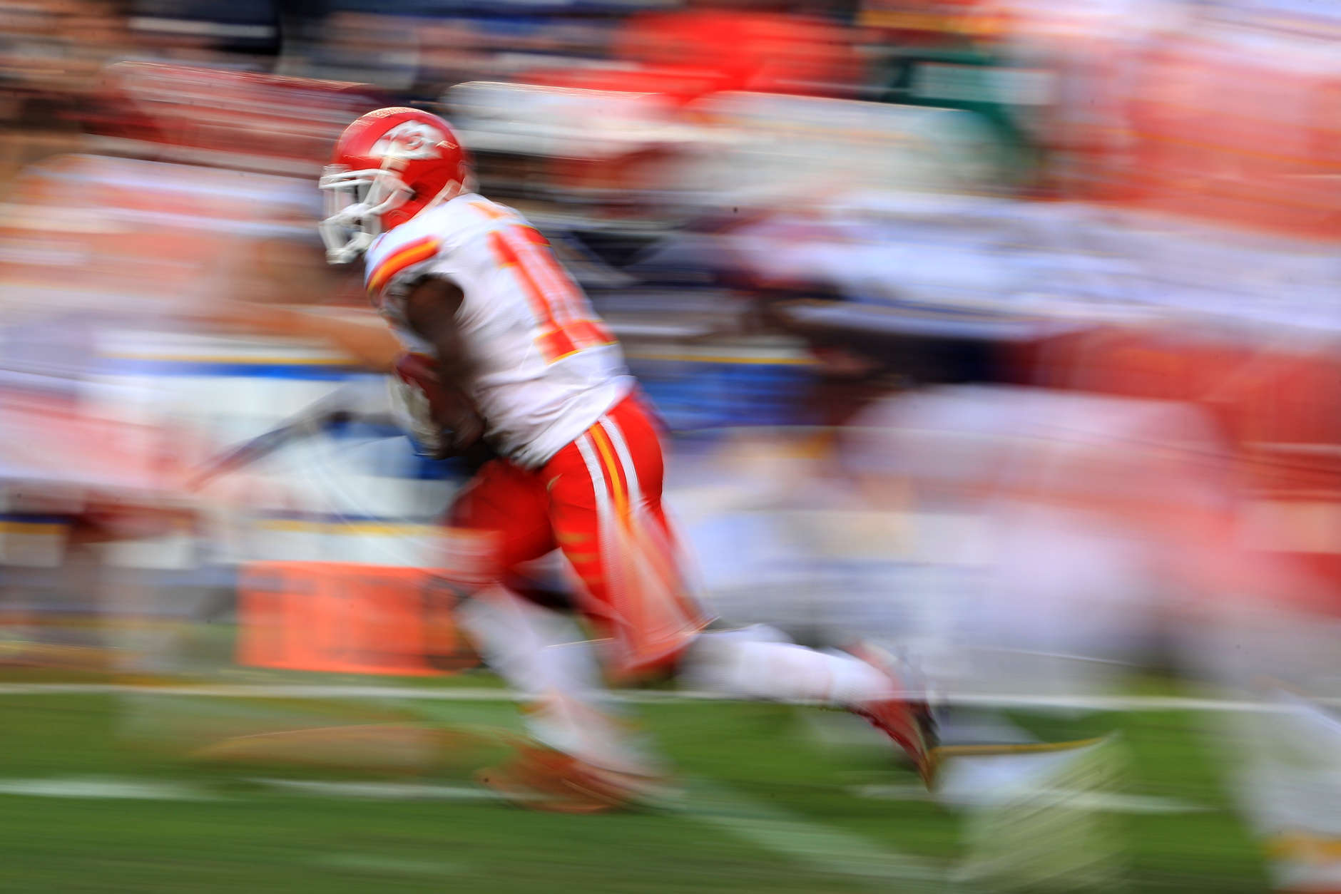 SAN DIEGO, CA - JANUARY 01:  Tyreek Hill #10 of the Kansas City Chiefs runs back a punt for 95 yards against the San Diego Chargers during the second half of a game at Qualcomm Stadium on January 1, 2017 in San Diego, California.  (Photo by Sean M. Haffey/Getty Images)