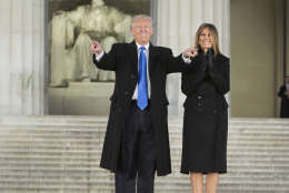 """WASHINGTON, DC - JANUARY 19:  (AFP OUT) President-elect of The United States Donald J. Trump and first lady-elect of The United States Meliana Trump arrive at the """"Make America Great Again Welcome Celebration concert at the Lincoln Memorial in January 19, 2017 in Washington, DC. Hundreds of thousands of people are expected to come to the National Mall to witness Trump being sworn in as the 45th president of the United States. (Photo by Chris Kleponis-Pool/Getty Images)"""