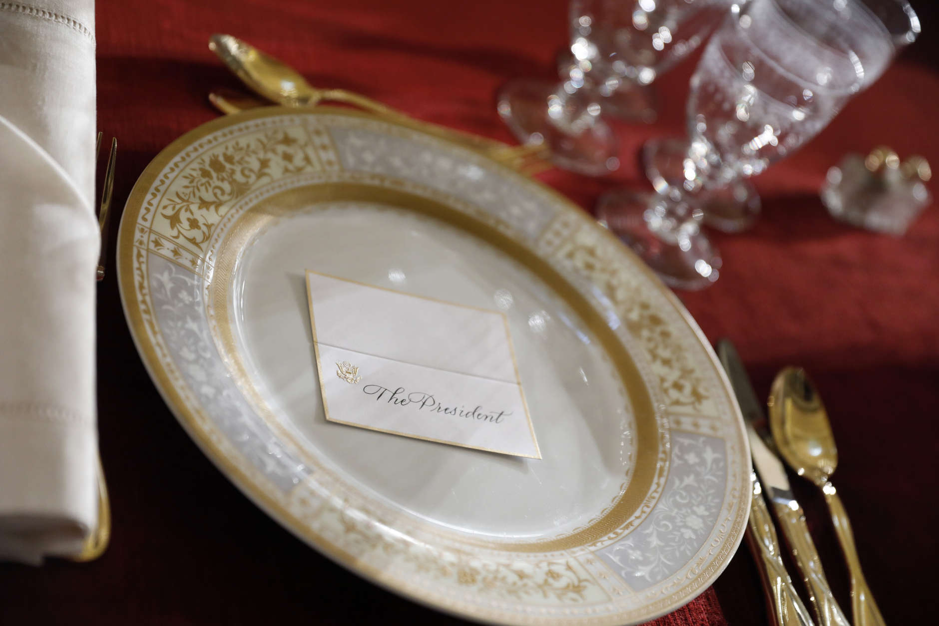 WASHINGTON, DC - JANUARY 20:  President Donald Trump's place setting is seen as workers prepare the Inaugural Luncheon in the US Capitol January 20, 2017 in Washington, DC.  Later in the morning President-elect Trump will be sworn in as the nation's 45th president during an inaugural ceremony at the U.S. Capitol. (Photo by Aaron P. Bernstein/Getty Images)