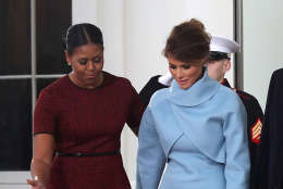 WASHINGTON, DC - JANUARY 20: First lady Michelle Obama (L), greets Melania Trump after she and her husband president-elect Donald Trump arrived at the White House on January 20, 2017 in Washington, DC. Later in the morning President-elect Trump will be sworn in as the nation's 45th president during an inaugural ceremony at the U.S. Capitol. (Photo by Mark Wilson/Getty Images)