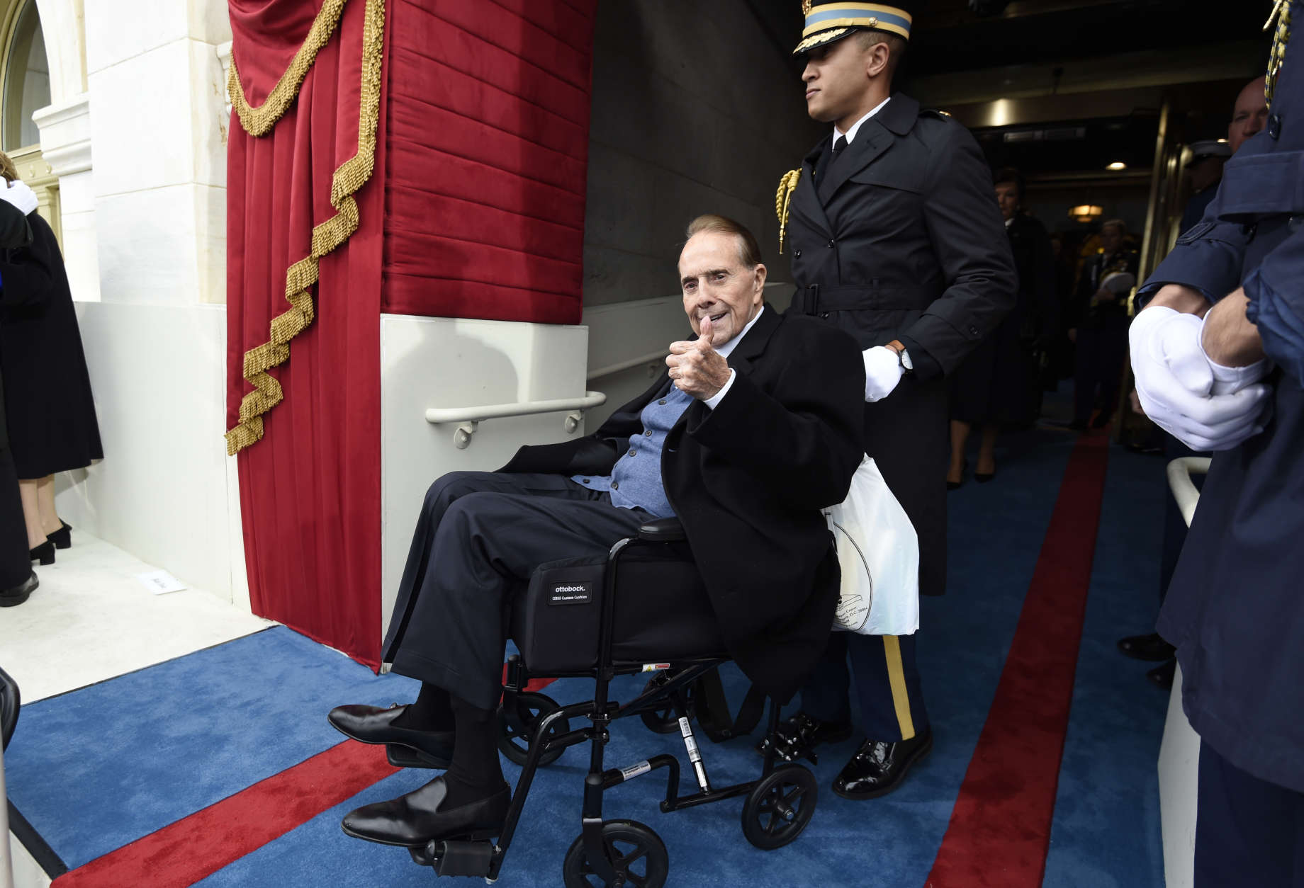 WASHINGTON, DC - JANUARY 20: Former US Senator Bob Dole arrives for the Presidential Inauguration of Donald Trump at the US Capitol on January 20, 2017 in Washington, DC. Donald J. Trump will become the 45th president of the United States today.  (Photo by Saul Loeb - Pool/Getty Images)