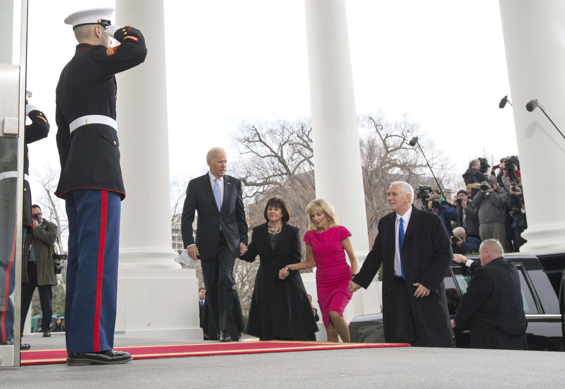 WASHINGTON, DC - JANUARY 20:  Vice President Joe Biden and his wife Jill walk with Vice President-Elect Mike Pence and his wife Karen as they arrives at the White House prior to the inauguration in Washington, D.C. on January 20, 2017. Later today Donald Trump will be sworn-in as the 45th President.  (Photo by Kevin Dietsch-Pool/Getty Images)