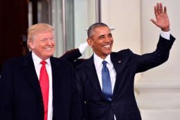 President-elect Donald Trump and President Barak Obama smile at the White House before the inauguration on Jan. 20, 2017, in Washington, D.C.   (Photo by Kevin Dietsch-Pool/Getty Images)