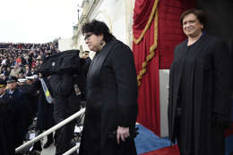 WASHINGTON, DC - JANUARY 20: US Supreme Court Justices Sonia Sotomayor (C) and Elena Kagan arrive for the Presidential Inauguration of Donald Trump at the US Capitol on January 20, 2017 in Washington, DC. Donald J. Trump will become the 45th president of the United States today.  (Photo by Saul Loeb - Pool/Getty Images)