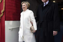 WASHINGTON, DC - JANUARY 20: Former US President Bill Clinton and First Lady Hillary Clinton arrive for the Presidential Inauguration of Donald Trump at the US Capitol on January 20, 2017 in Washington, DC. Donald J. Trump will become the 45th president of the United States today.  (Photo by Saul Loeb - Pool/Getty Images)