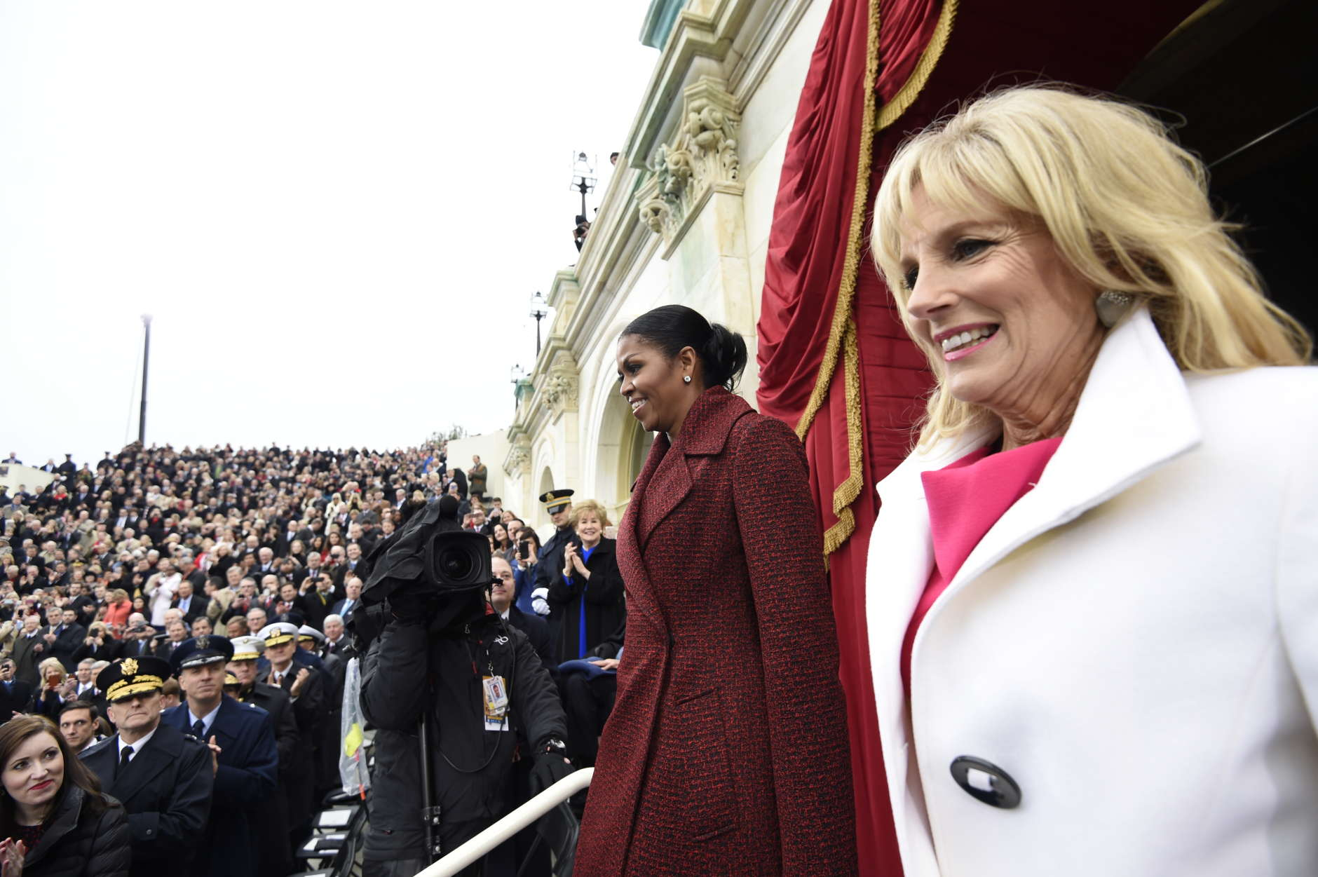 WASHINGTON, DC - JANUARY 20: US First Lady Michelle Obama (L) and Dr. Jill Biden arrive for the Presidential Inauguration of Donald Trump at the US Capitol on January 20, 2017 in Washington, DC. Donald J. Trump will become the 45th president of the United States today.  (Photo by Saul Loeb - Pool/Getty Images)