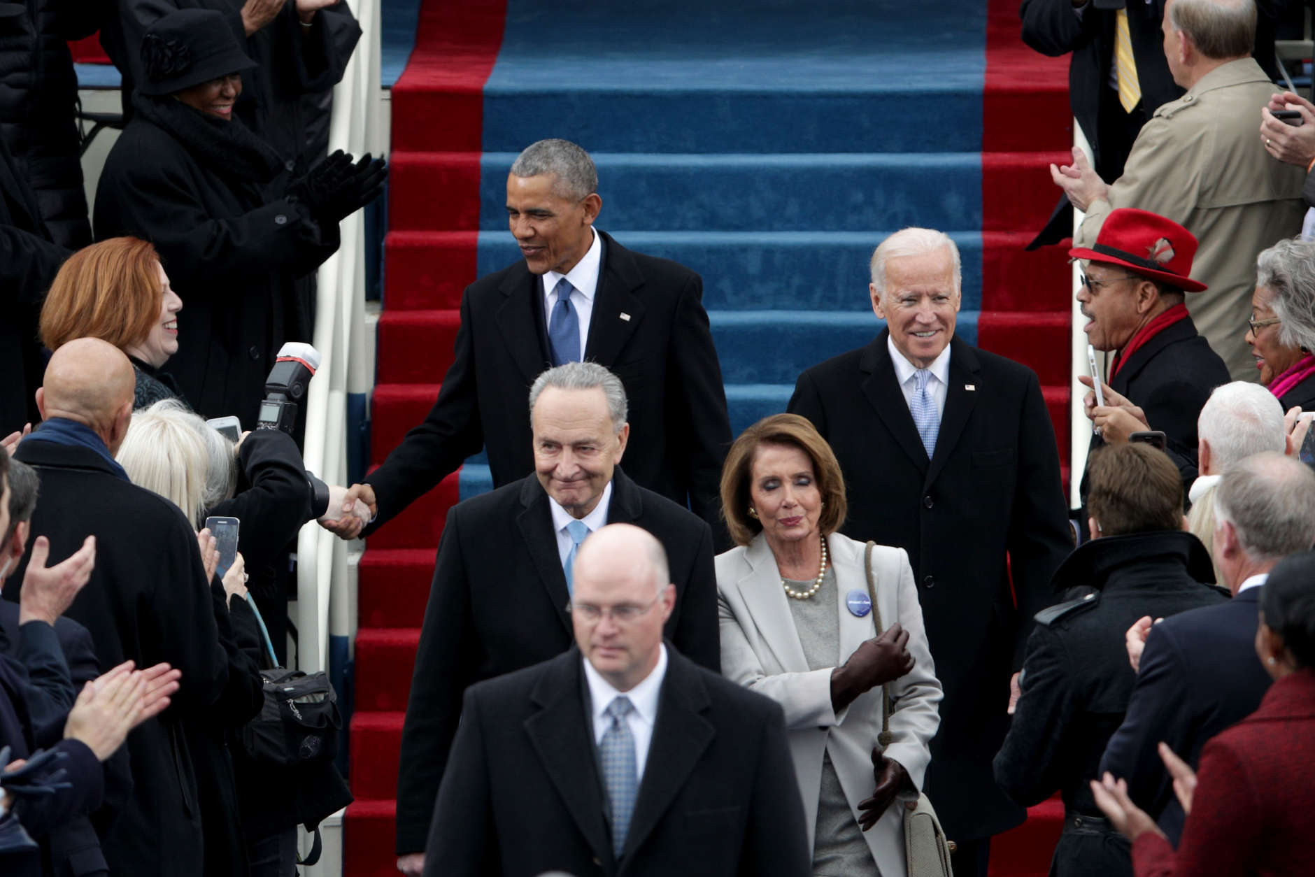 WASHINGTON, DC - JANUARY 20: President Barack Obama, Sen. Chuck Schumer (D-NY), Rep. Nancy Pelosi (D-CA) and Vice President Joe Biden arrivei  on the West Front of the U.S. Capitol on January 20, 2017 in Washington, DC. In today's inauguration ceremony Donald J. Trump becomes the 45th president of the United States.  (Photo by Alex Wong/Getty Images)