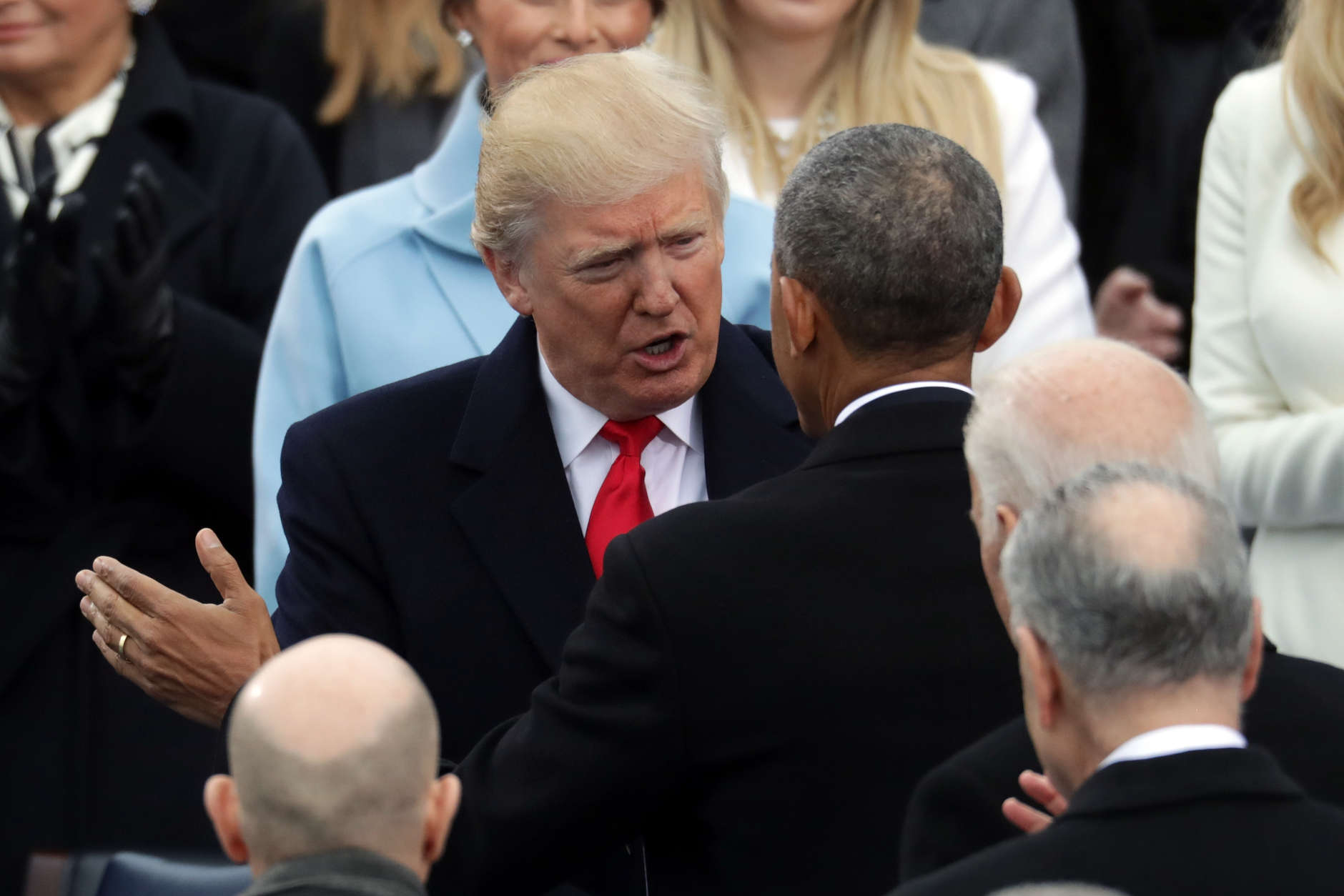 WASHINGTON, DC - JANUARY 20:  U.S. President Barack Obama (R) and President-elect Donald Trump speak on the West Front of the U.S. Capitol on January 20, 2017 in Washington, DC. In today's inauguration ceremony Donald J. Trump becomes the 45th president of the United States.  (Photo by Chip Somodevilla/Getty Images)