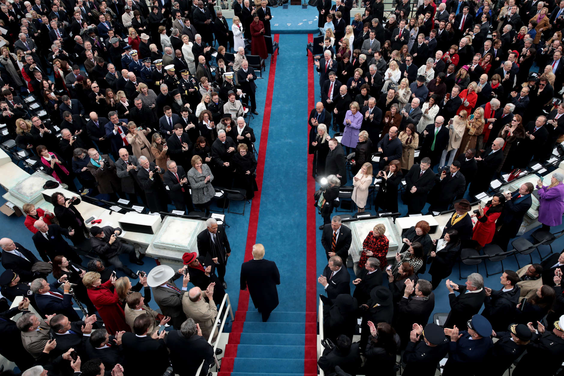 WASHINGTON, DC - JANUARY 20:  President Elect Donald Trump arrives on the West Front of the U.S. Capitol on January 20, 2017 in Washington, DC. In today's inauguration ceremony Donald J. Trump becomes the 45th president of the United States.  (Photo by Scott Olson/Getty Images)