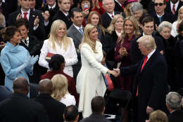 WASHINGTON, DC - JANUARY 20:  U.S. President-elect Donald Trump (R) is greeted by (L-R) wife Melania Trump, and daughters Tiffany Trump and Ivanka Trump on the West Front of the U.S. Capitol on January 20, 2017 in Washington, DC. In today's inauguration ceremony Donald J. Trump becomes the 45th president of the United States.  (Photo by Drew Angerer/Getty Images)