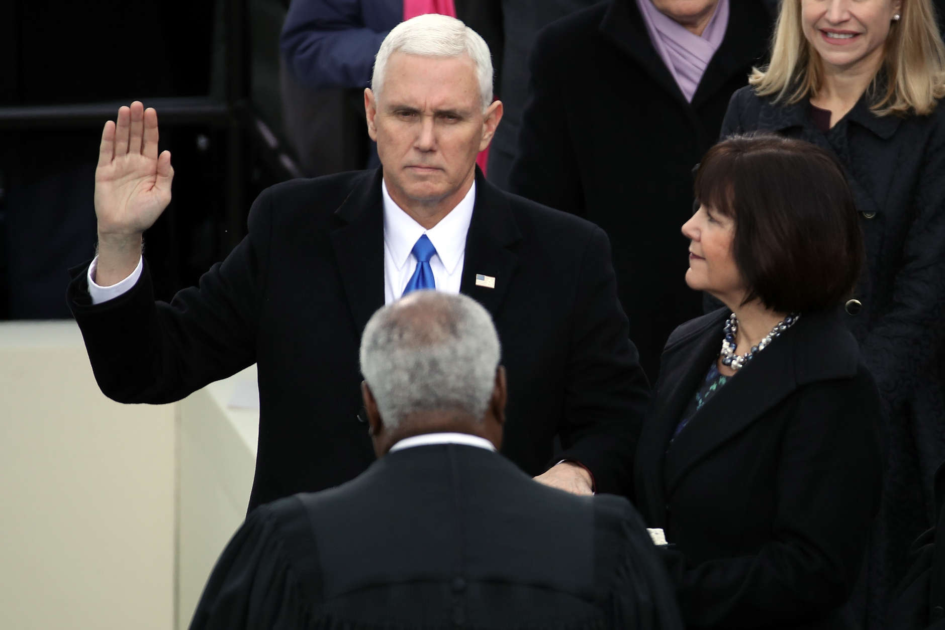 WASHINGTON, DC - JANUARY 20:  U.S. Vice President Mike Pence takes the oath of office on the West Front of the U.S. Capitol on January 20, 2017 in Washington, DC. In today's inauguration ceremony Donald J. Trump becomes the 45th president of the United States.  (Photo by Drew Angerer/Getty Images)