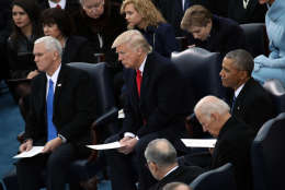WASHINGTON, DC - JANUARY 20:  (L-R) U.S. Vice President-elect Mike Pence, President-elect Donald Trump, Vice President Joe Biden, Barron Trump and President Barack Obama take their seats on the West Front of the U.S. Capitol on January 20, 2017 in Washington, DC. In today's inauguration ceremony Donald J. Trump becomes the 45th president of the United States.  (Photo by Drew Angerer/Getty Images)