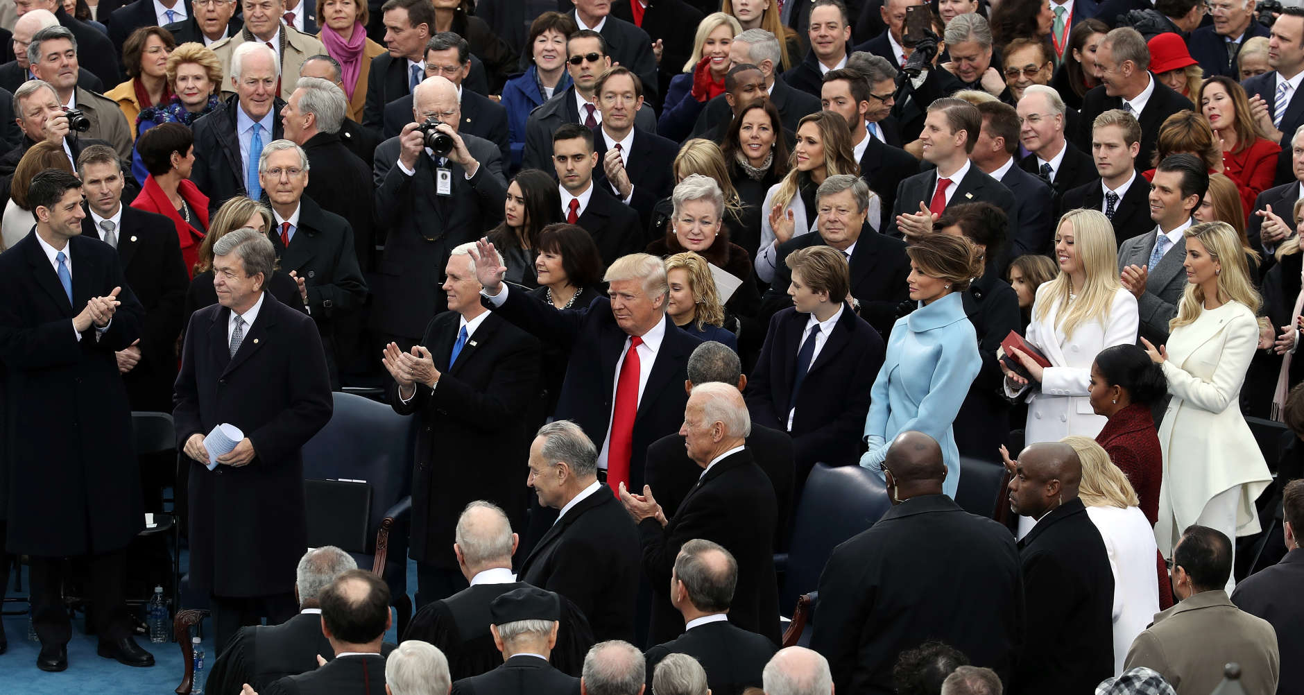 WASHINGTON, DC - JANUARY 20:  U.S. President-elect Donald Trump (C) arrives on the West Front of the U.S. Capitol on January 20, 2017 in Washington, DC. In today's inauguration ceremony Donald J. Trump becomes the 45th president of the United States.  (Photo by Drew Angerer/Getty Images)