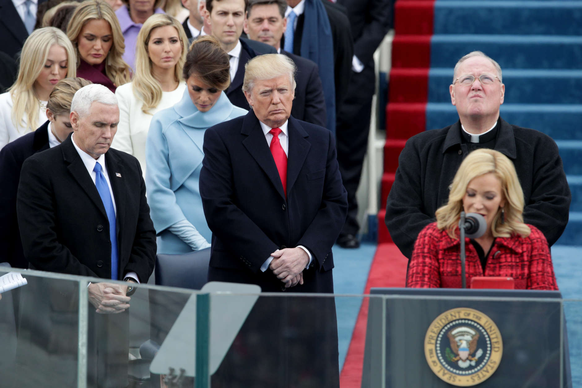 WASHINGTON, DC - JANUARY 20: Vice Presidential candidate Mike Pence (L) and President Elect Donald Trump stand on the West Front of the U.S. Capitol on January 20, 2017 in Washington, DC. In today's inauguration ceremony Donald J. Trump becomes the 45th president of the United States.  (Photo by Alex Wong/Getty Images)