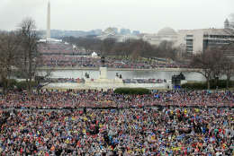 WASHINGTON, DC - JANUARY 20:  Crowds on the National Mall and in front of the U.S. Capitol watch U.S. President Donald Trump deliver his inaugural address on the West Front of the U.S. Capitol on January 20, 2017 in Washington, DC. In today's inauguration ceremony Donald J. Trump becomes the 45th president of the United States.  (Photo by Chip Somodevilla/Getty Images)