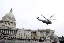 WASHINGTON, DC - JANUARY 20:  WASHINGTON, DC - JANUARY A military helicopter carries former president Barack Obama and Michelle Obama from the U.S. Capitol on January 20, 2017 in Washington, DC. In today's inauguration ceremony Donald J. Trump becomes the 45th president of the United States.  (Photo by Rob Carr/Getty Images)