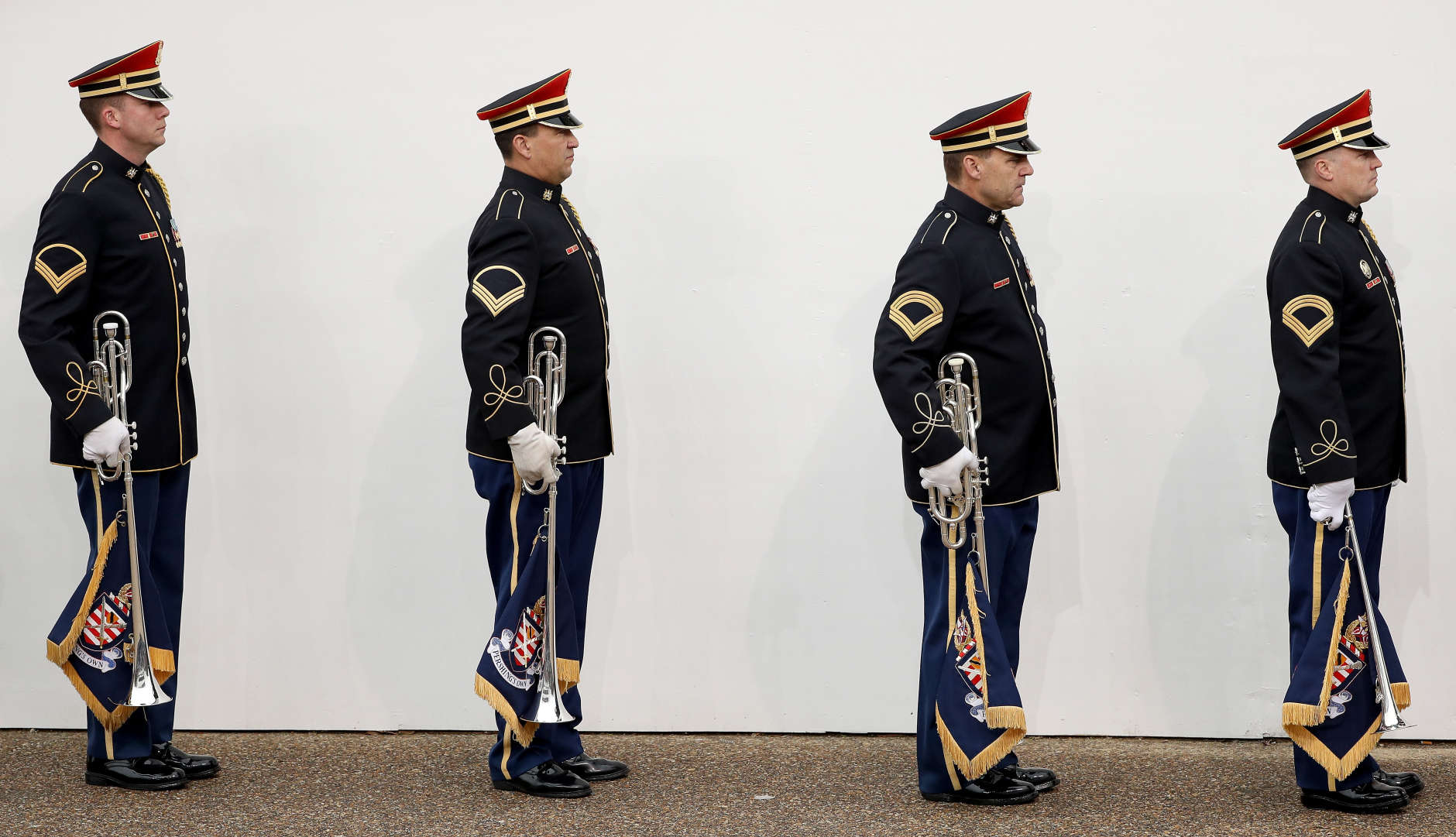 WASHINGTON, DC - JANUARY 20:  Members of a military band line up during the Inaugural Parade on January 20, 2017 in Washington, DC. Donald J. Trump was sworn in today as the 45th president of the United States.  (Photo by Patrick Smith/Getty Images)