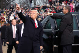 WASHINGTON, DC - JANUARY 20: U.S. President Donald Trump gestures after getting out of his car in front of the White House on January 20, 2017 in Washington, DC. President Trump was sworn in as the nation's 45th president during an inaugural ceremony at the U.S. Capitol, on January 20, 2017 in Washington, DC.  (Photo by Mark Wilson/Getty Images)