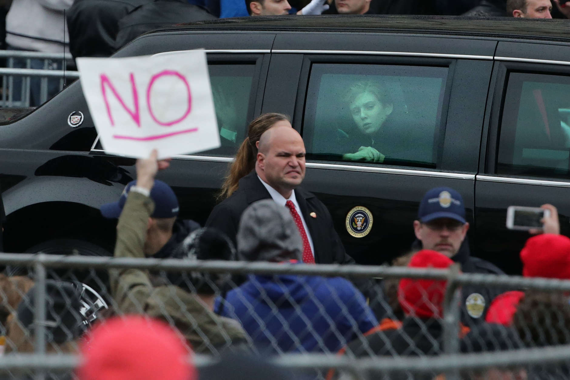 Ten-year-old Barron Trump looks out the window of the presidential limosine as he joins his parents U.S. President Donald J. Trump and first lady Melania Trump as they travel down Pennsylvania Avenue during the Inauguration Day Parade January 20, 2017 in Washington, D.C. (Photo by Chip Somodevilla/Getty Images)