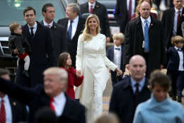 WASHINGTON, DC - JANUARY 20:  Jared Kushner, holding son Theodore Kushner, walks with wife Ivanka Trump and daughter Arabella Kusner behind U.S. President Donald J. Trump and first lady Melania Trump down Pennsylvania Avenue in front of the White House during the Inaugural Parade January 20, 2017 in Washington, DC. Donald J. Trump was sworn in today as the 45th president of the United States.  (Photo by Chip Somodevilla/Getty Images)