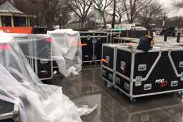 Equipment sits near the Lincoln Memorial in D.C. on Saturday, Jan. 14, 2017 in what appears to be preparation for upcoming Inauguration Day events. (WTOP/Jenny Glick)