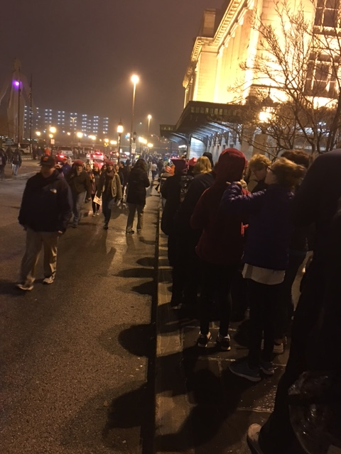 Just after 6:30 a.m., the line for the Marc train at Penn Station in Baltimore was already stretching down multiple blocks on Saturday, Jan. 21, 2017, the day of the Women's March on Washington. (WTOP/Jenny Glick)