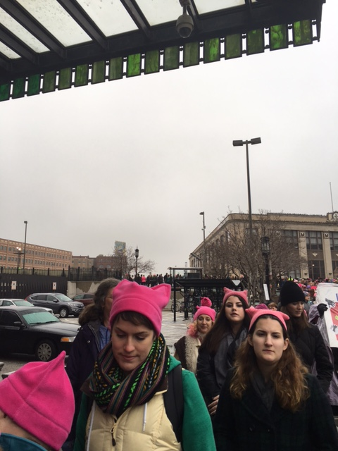 These people have been waiting for more than two hours to catch a train to D.C. from Baltimore's Penn Station for the Women's March on Washington on Saturday morning, Jan. 21, 2017. (WTOP/Jenny Glick)